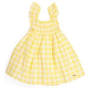 Tahari Yellow Gingham Ruffle Sundress